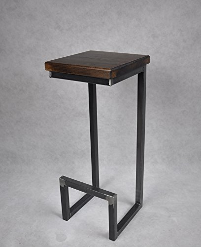 Magnetic Mobel® Barhocker Stahl Holz massiv C-Style Barstuhl Industrial Design Metall Hocker H 78 cm (Nussbaum) (Barhocker Nussbaum Metall)