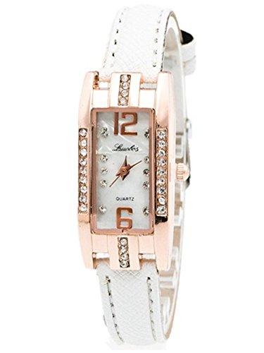 Vovotrade Uhren Damen Rechteckige Diamant Zeiger Quartz Leder band(Weiß)