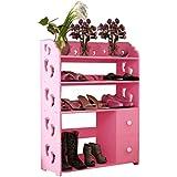 Mode-Ideen Schuh-Rack, geschnitzte Schuhkarton Holz-Panels Multifunktions-Staubdicht Kombi-Stiefel Schränke (rosa) Platzsparend ist einfach zu montieren