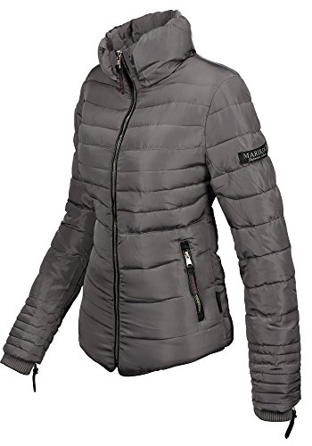 Marikoo Damen Winter Jacke Steppjacke hoher Stehkragen Teddyfell B354 Grau