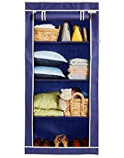 Amazon Brand - Solimo 1-Door Foldable Wardrobe, 4 Racks, Navy Blue