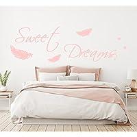 WANDTATTOO AA092 Wandschnörkel ® Sweet Dreams Spruch mit Federn Wanddekoration Schlafzimmer Pastellrosa und viele weitere Farben./Größen Wandaufkleber