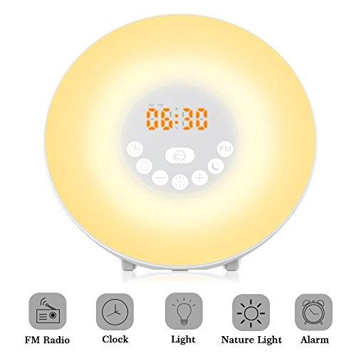 Lichtwecker, ROOROO Wecker Wake Up Light LED, Wake Up Licht mit Sonnenaufgang Simulation, Tagelichtwecker mit Intelligente Schlummerfunktion, FM Radio, Touch Control, 7 Farbige LED und USB Ladegerät