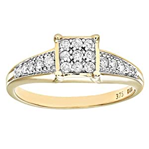 Naava Women's Diamond Set Shoulders and 9 ct Yellow Gold Square Design Ring - Size H