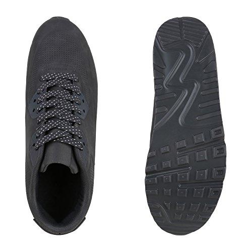 Stiefelparadies Herren Sportschuhe Leder-Optik Sneakers Velours Glitzer Metallic Runners Freizeitschuhe Schnürer Flandell Grau Weiss