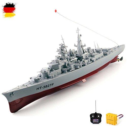 HSP Himoto Original 1:360 Bismarck XXL RC ferngesteuertes Schlachtschiff Schiff-Modell Kriegsschiff Modellbau, Ready-to-Run ,Komplett-Set Inkl. Zubehör