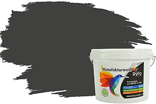 RyFo Colors Bunte Wandfarbe Manufakturweiß Graphitschwarz 3l - weitere Grau Farbtöne und Größen erhältlich, Deckkraft Klasse 1, Nassabrieb Klasse 1