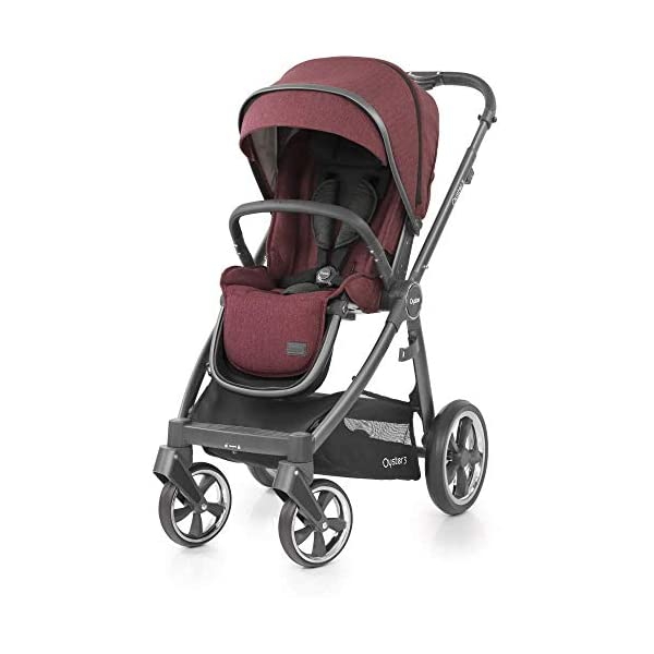 Babystyle Oyster 3 Pushchair in Berry with City Grey Chassis & Raincover Babystyle Multi position, lie-flat seat unit (rear or forward facing) from birth. Lightweight chassis and telescopic handle design with 4 adjustable positions. Swivel front wheels with one click locking mechanism. 1