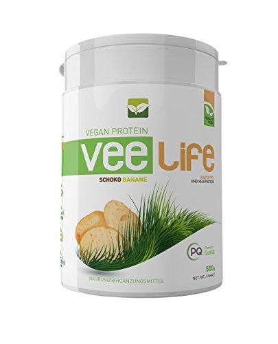 Vee Life - Veganes Protein | Kartoffelprotein und Reisprotein | hypoallergen | ohne Soja | Reich an BCAA | Schoko Banane | 500g