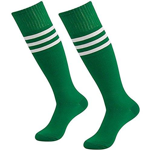 LAAT Damen Männer Kniestrümpfe Ladies College Socks Socken mit Streifen für Frauen Überkniestrümpfe in Elastisch Strümpfe Cheerleading (Grün)