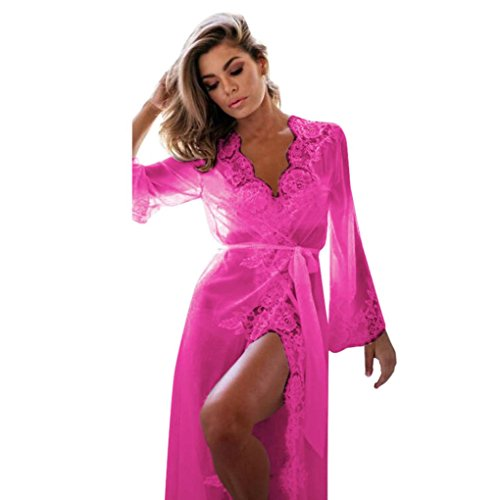 AIMEE7 Femme Vêtements de Nuit Robe de Chambre Kimono Dentelle Peignoirs de Robe Pajamas Chemise (Rose Chaud, L)