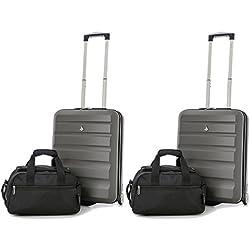 Aerolite 55x40x20 Tamaño Máximo de Ryanair y Vueling ABS Trolley Maleta Equipaje de mano cabina ligera con 2 ruedas (2 x Maleta Carbón + 2 x 2do Bolso Negro)