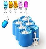 Moules à glaçons, crème glacée à la silicone, gel de silice, étagère à glace créative, costume de moulin à crème glacée maison - un design contenant 6 modèles, les enfants aiment la santé et la sécurité. ( Couleur : Bleu )