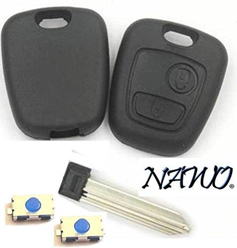 CLE-AUTO Coque clé plip 2 Boutons Citroen Berlingo Xsara Picasso, Saxo sans vis + 2 Boutons Switch- Marque NAWO