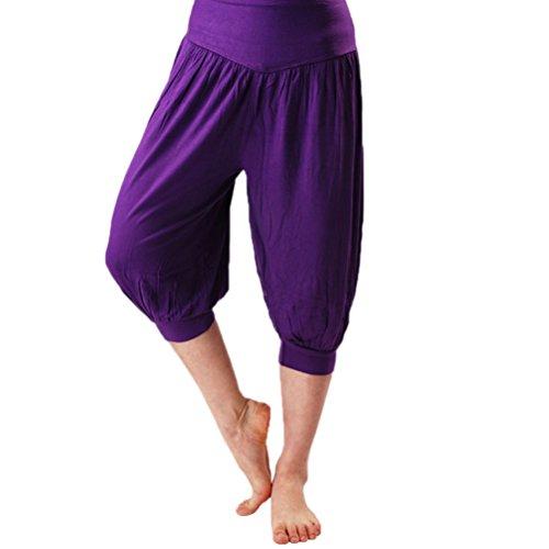 Nanxson(TM) Femmes Saroule/Pantalon Bouffant Court Large Pour Sport Fitness Yoga Multi-couleurs YDKW0011 pourpre