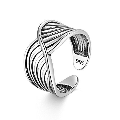 Candyfancy anillos Plata 925 ajustable Abierto Amplio Midi Ring Mujer Plata vintage