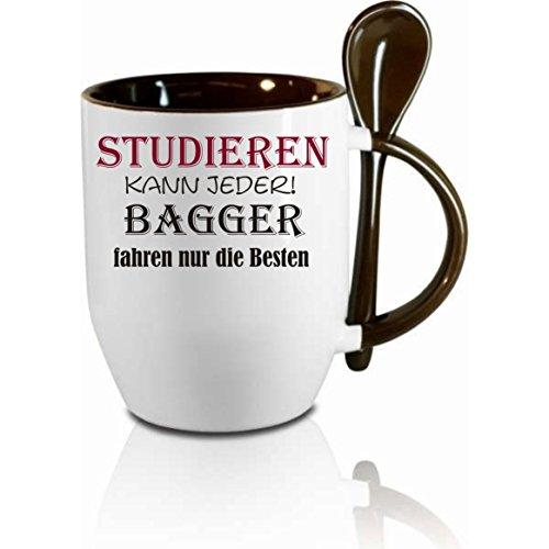 Tasse m. Löffel ' Studieren kann jeder - Bagger fahren nur die Besten ' Löffeltasse, Kaffeetasse...