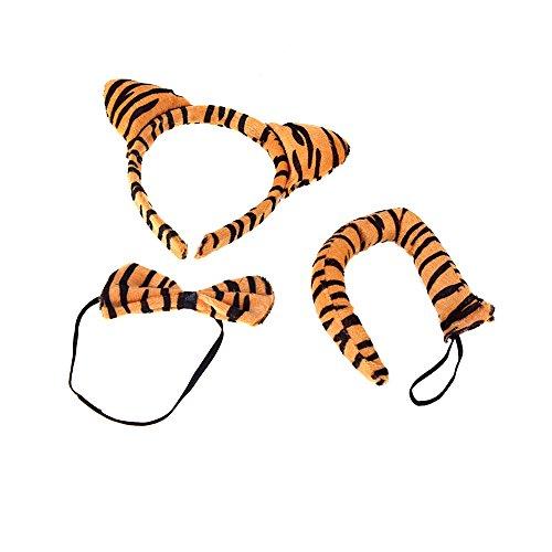 Anself Halloween Leopard Print peluche Fluffy Cat Ear fascia Papillon Tail animali Costume Puntelli divertente vestire partito set di accessori