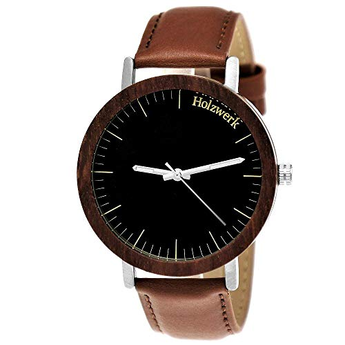 Handgefertigte Holzwerk Germany Designer Damen-Uhr Herren-Uhr Öko Natur Holz-Uhr Leder Armband-Uhr Analog Klassisch Quarz-Uhr Braun Schwarz
