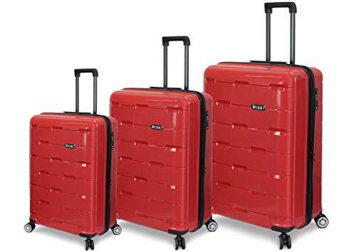 ORMI Set 3 Trolley In ABS 8 Ruote Con Bagaglio a Mano Lucchetto TSA Mod.:PP01 (Rosso)
