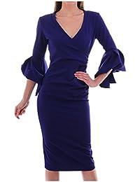 406625d373 Kevan Jon Ceiba Wrap Knee Dress in Delauney Scuba Colbalt