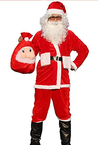 Clause Kostüm Santa - Dtailz Men's Santa Clause Suit Father Christmas 4 Pieces Fancy Dress Costume Outfit, Adult Size
