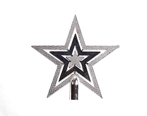 Lilone Top Star Christmas Decorations, Tree Hanging Ornament, 15 cm, Silver