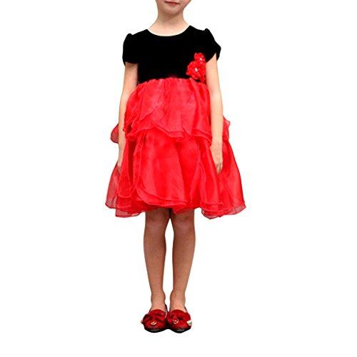 LA JINIRR Mädchen Schwarz und Rot Kurzarm Party Prinzessin Tutu Kleid für Höhe (Kleid Tutu Herzen Der Königin)