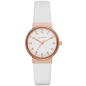 Skagen SKW2290 - Reloj para mujeres, correa de cuero color blanco de Skagen