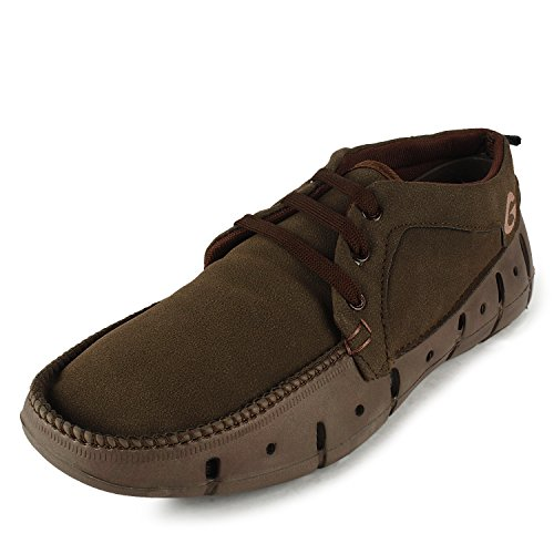 Globalite Men's Casual Loafers Groove mid ankle Brown -10  available at amazon for Rs.299