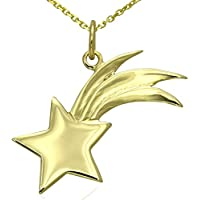 Massiccio 9ct oro Shooting Falling Star collana gioielli Set 16