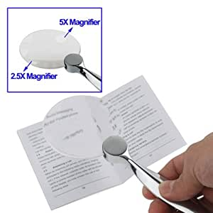 Large Magnifying Glass - Dual-power large 2.5 x Main Magnifier with 5 x mini window. High quality with heavy Chrome plated handle. Comes with protective carrying case