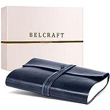 Tivoli A5 mittelgroßes Notizbuch aus recyceltem Leder, Handgearbeitet in klassischem Italienischem Stil, Geschenkschachtel inklusive, Lederbuch, Tagebuch A5 (15x21 cm) Ozean Blue