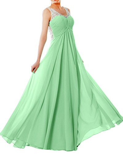 MACloth Women Straps V Neck Chiffon Lace Long Prom Dress Formal EveningBall Gown Menthe