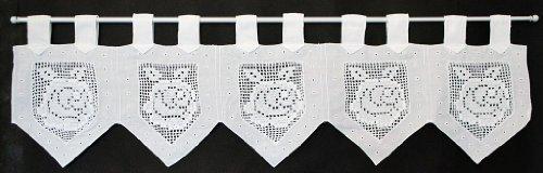 Rideaux brise-bise avec du coton de boucles 25 cm de haut | La largeur est réglable en fonction du nombre de pièces en pas de 16 cm. | Couleur: Blanc