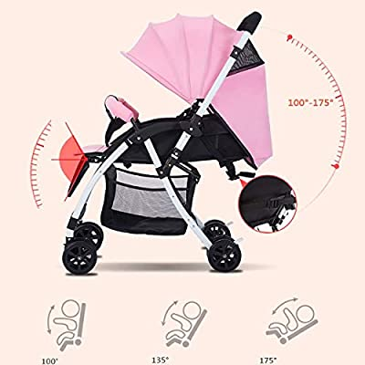 Cochecito De Bebé Gemelo Plegables, Conexión Desmontable Ajuste De La Manija del Carro Muñecas para Bebés Pueden Sentarse Y Acostarse Cochecitos En Tándem Ligeros Carro Doble