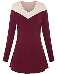 ReliBeauty –Femme – Tunique tops à col V – T-shirt basique à manches longues – mini robe automne– contraste épaule en bloc de couleur