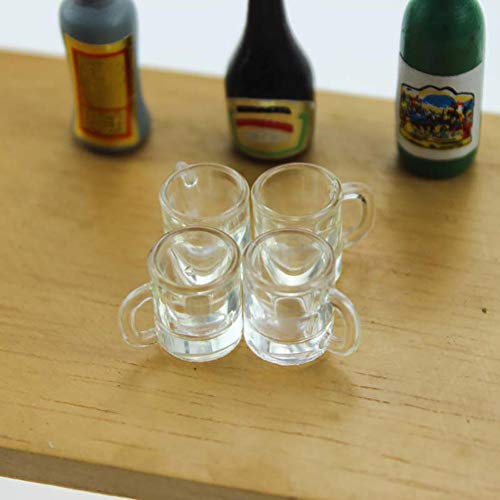 CFPACR 1/6 1/12 Miniatur Leerer Bierkrug Cup Puppenhaus Zubeh?r Pretend Play Toy - Transparent