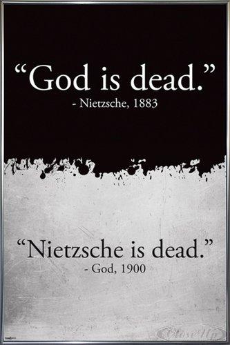 God is Dead (Gott ist tot) Nietzsche is Dead Poster (93x62 cm) gerahmt in: Rahmen anthrazit metallic