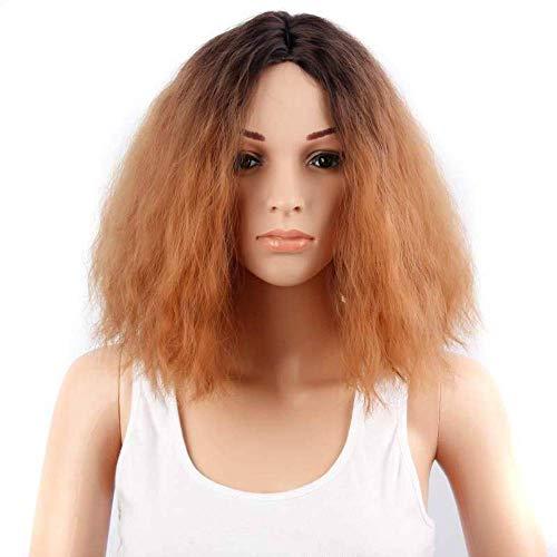 Perücke Haarteile Perücke Europäischen Und Amerikanischen Frauen 'S Kopfbedeckungen Mais Hot Gold Hochtemperatur Seide Chemiefaser Haar Set Pick Färben Mais-pick-set
