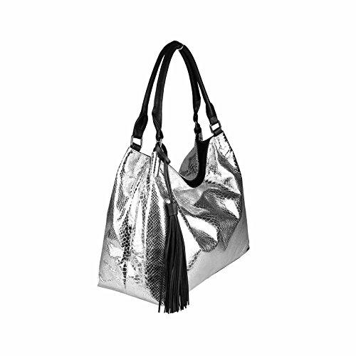 OBC DAMEN TASCHE SHOPPER METALLIC Henkeltasche Handtasche Schultertasche Umhängetasche Hobo-Bag Rose Silber 40x30x15 cm