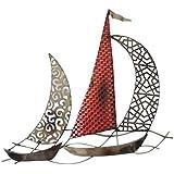 Décoration Métal Murale Bateaux Rouge et Bronze. Décoration Marine Métallique Fer Forgé. Régate de Voiliers. Dimensions : 43