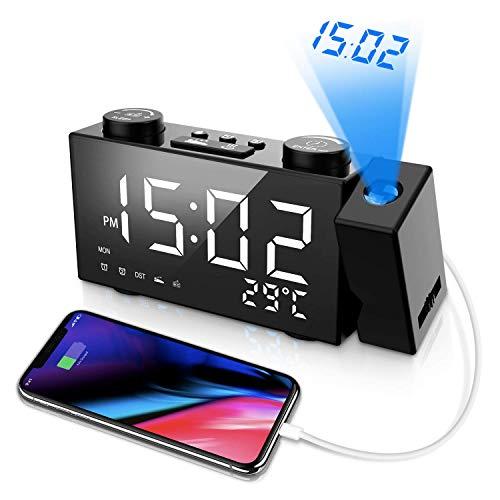 Despertador Proyector, Reloj Proyector Techo LCD Radiocontrol Inalámbrico Estación Meteorológica...