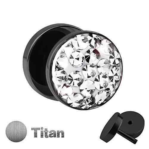 Treuheld | Schwarzer Titan Ohrstecker zum Schrauben mit klaren, durchsichtigen KRISTALLEN - Fake Plug mit Zirkonia aus Titanium (Nickelfrei) mit funkelnden Steinen & Schutzschicht - Epoxy Transparent