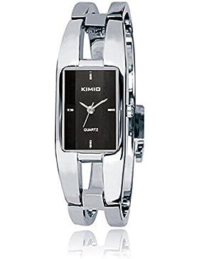 SSITG Uhr Armbanduhr Damen Edelstahl Silber Quarz Spangenuhr Armreif Wrist Watch montre de