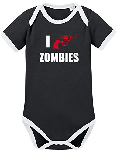 TSP I Shoot Zombies Kontrast Baby Body 68 Schwarz