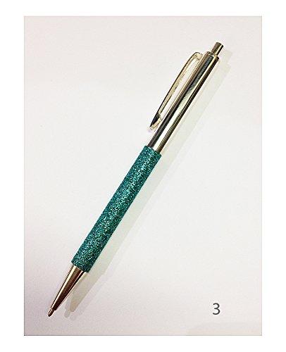 Penna a sfera e a scatto | Glitter | Argento 925 | Cesare Emiliano (N.3 Verde Smeraldo)