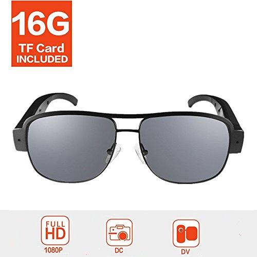 OMOUP 1080P HD Spion Kamera Gläser Tragbarer Videobrillen Mini Versteckter Kamera Camcorder (16G, S001)