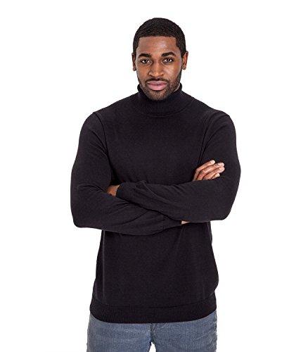 Wool Overs Pull à col roulé homme en Soie et Coton Black