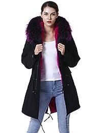 S.ROMZA Mujer Abrigo con Capucha Invierno - Forro de Pelaje de Conejo  extraíble - Cuello extraíble de Piel de… f3412ebf4d83